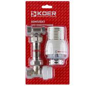 """Комплект для подключения радиатора с терморегулятором Koer 1/2"""" KR.1320 угловой"""
