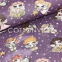 ✁ Отрез хлопковой ткани Ангелочки с золотистыми звездами фиолет 100х80 см, фото 1