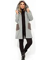 Теплое серое кашемировое пальто с каракулем размеры от XL 5108