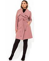 Модное женское кашемировое пальто на запах размеры от XL 5107