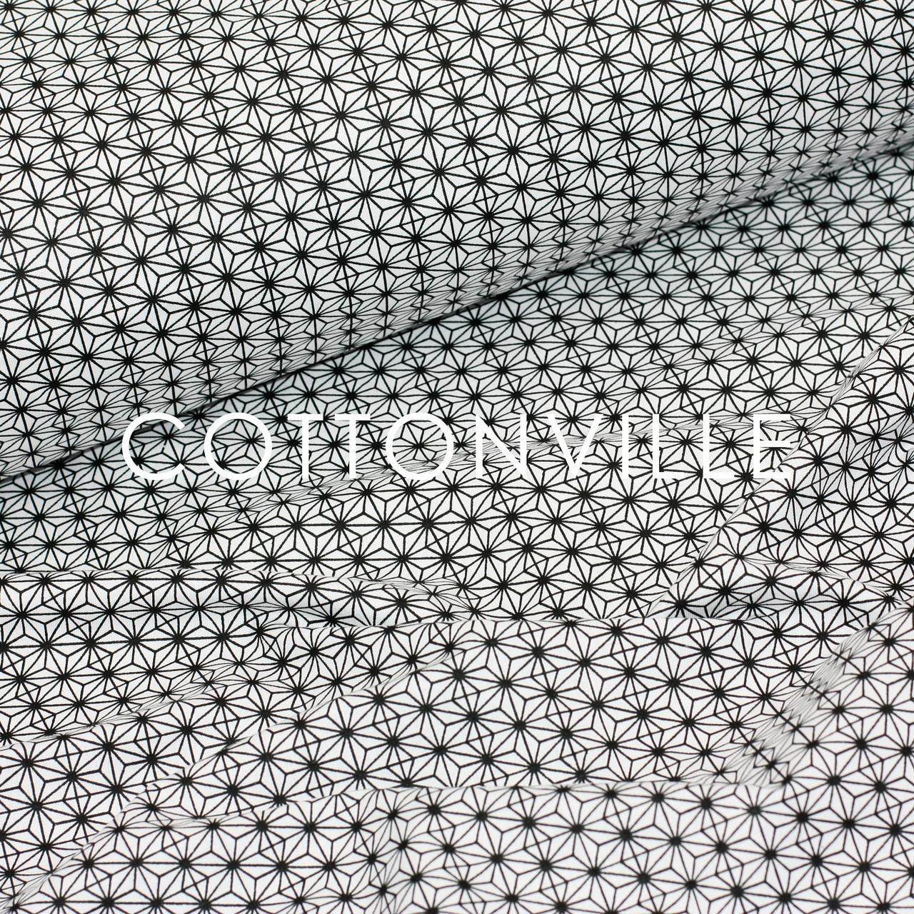 ✁ Отрезы хлопковой ткани Кристаллы черно-белые