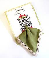 Подарочный женский носовой платок с Вашим текстом Приглашение в ресторан оливковый с кружевом