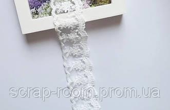 Кружево белое хлопок сетка с вышитыми цветами, кружево сетка, ширина кружева 4,5 см, цена указана за 45 см