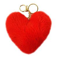 Брелок помпон Сердце из искусственного меха