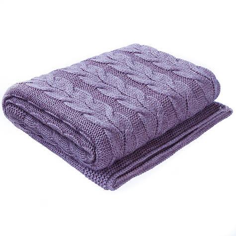 Плед вязаный  Ohaina косы 190х160 Violet