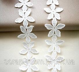 Кружево белое хлопок цветы, кружево цветок, цветок кружевной диаметр цветка 4,5 см, цена указана за 45 см