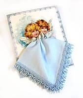 Носовой платок на подарок Ангелы голубой