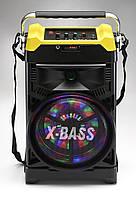 Портативная колонка с микрофоном Бумбокс NS-1389BT (радио/аккумулятор/блутуз/радиомикрофон)