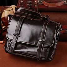 Сумка мужская кожаная TIDING BAG WS черная eps-5016, фото 3