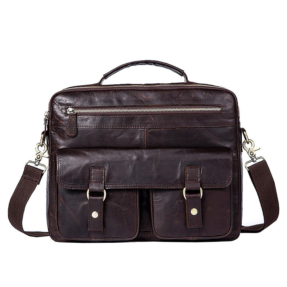 Сумка мужская кожаная TIDING BAG SD коричневая eps-5017