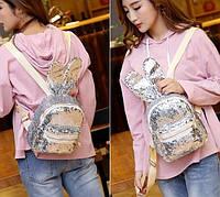 Молодежный серебристый женский рюкзак, с двусторонними пайетками, рюкзачок с ушками, белый