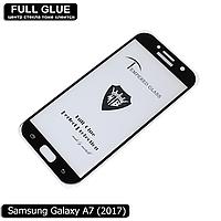 Защитное стекло Full Glue Samsung Galaxy A7 2017 (Black) - 2.5D Полная поклейка, фото 1