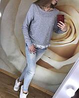 Женская кофта свитшот с бусинами и кружевом, фото 1