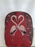 Молодежный рюкзак из текстиля (льняной) с Фламинго Одесса 7 км, фото 1