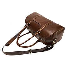 Дорожная сумка кожаная мужская Texas коричневая, фото 2