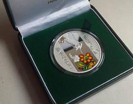 Петриківський розпис Срібна монета 10 гривень унція срібла 31,1 грам, фото 3