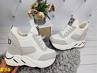 Сникерсы кроссовки на высокой платформе с танкеткой бело-серые 721ca2608e659