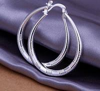 Нежные  серьги кольца из стерлингового серебра 925 пр.