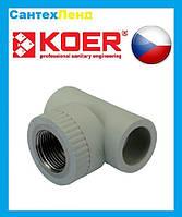 Тройник полипропиленовый 25х1/2Вх25 Koer