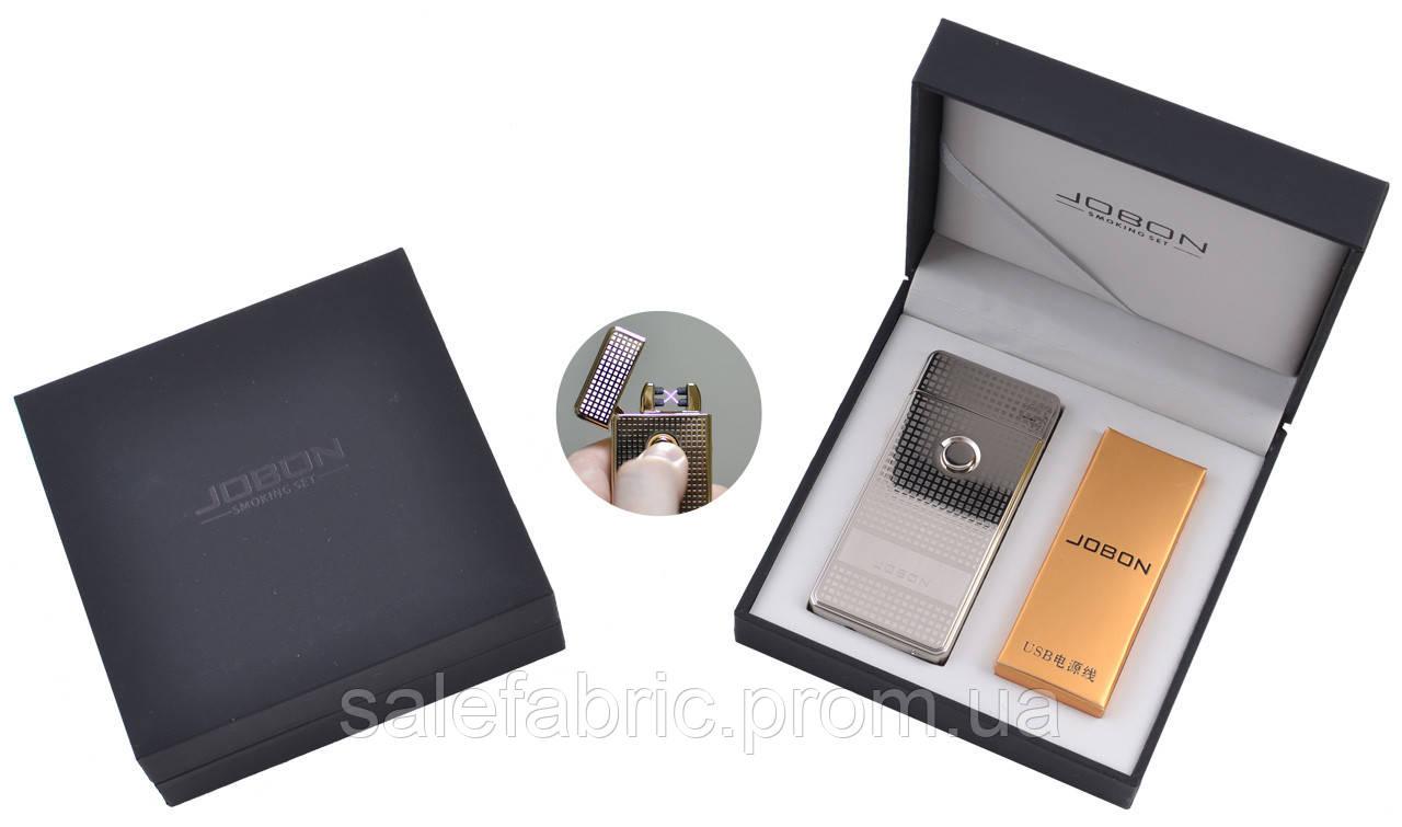 Электроимпульсная зажигалка в подарочной упаковке Jobon (Две перекрещенных молнии, USB) №XT-4884-2