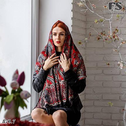 Женский чёрный павлопосадский палантин Пелагея, фото 2