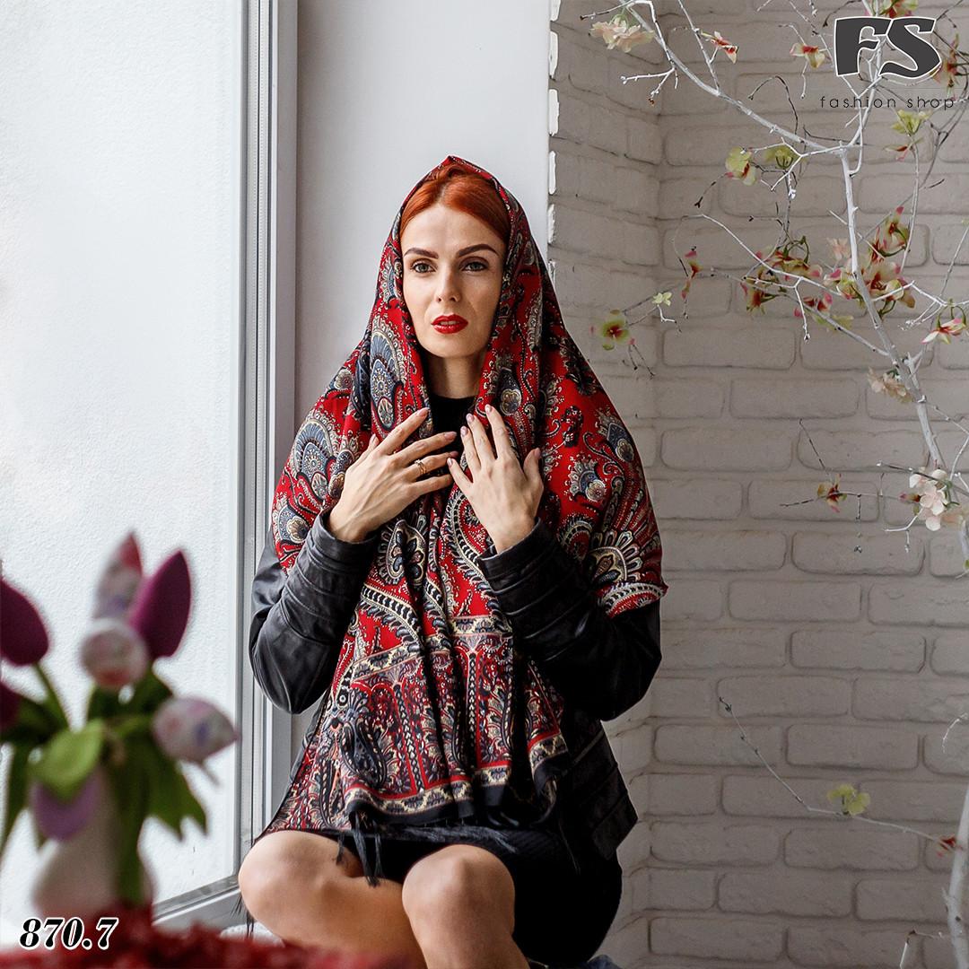 Женский чёрный павлопосадский палантин Пелагея