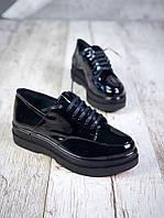 Модные женские туфли на платформе натуральная лакированная кожа черные, демисезонная женская обувь