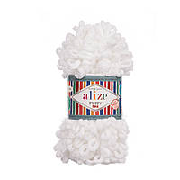 Пряжа Alize Puffy Fine 55 белый (Пуффи Файн Ализе) для вязания без спиц руками