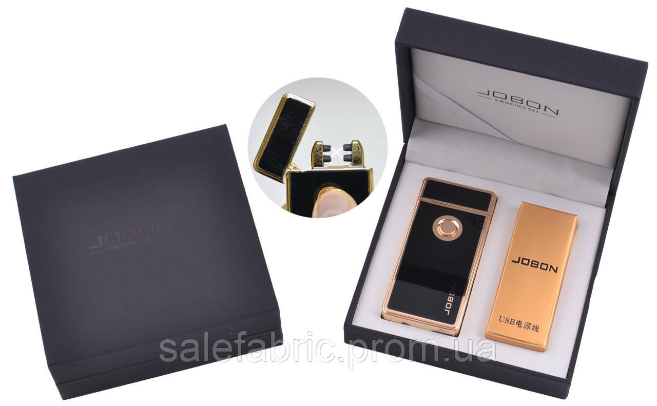 Электроимпульсная зажигалка в подарочной упаковке Jobon (Две перекрещенных молнии, USB) №XT-4885-1