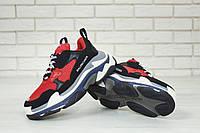 """Кроссовки мужские/женские замшевые Balenciaga Black/Red """"Черные с красным"""" многослойная подошва р.36-45"""