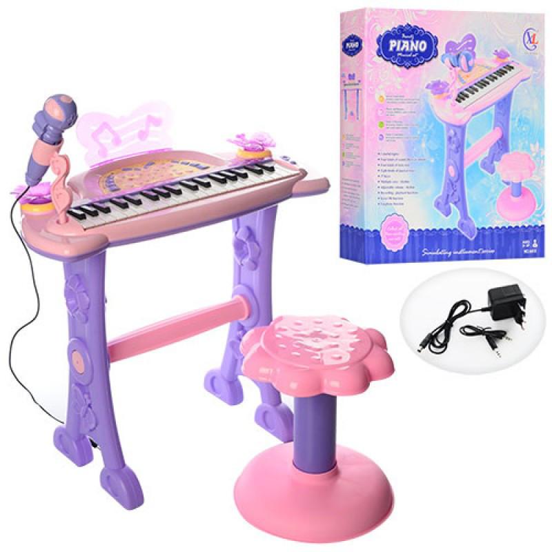 Детский музыкальный центр Синтезатор 37 клавиш, на ножках, стульчик, микрофон, свет, 6613