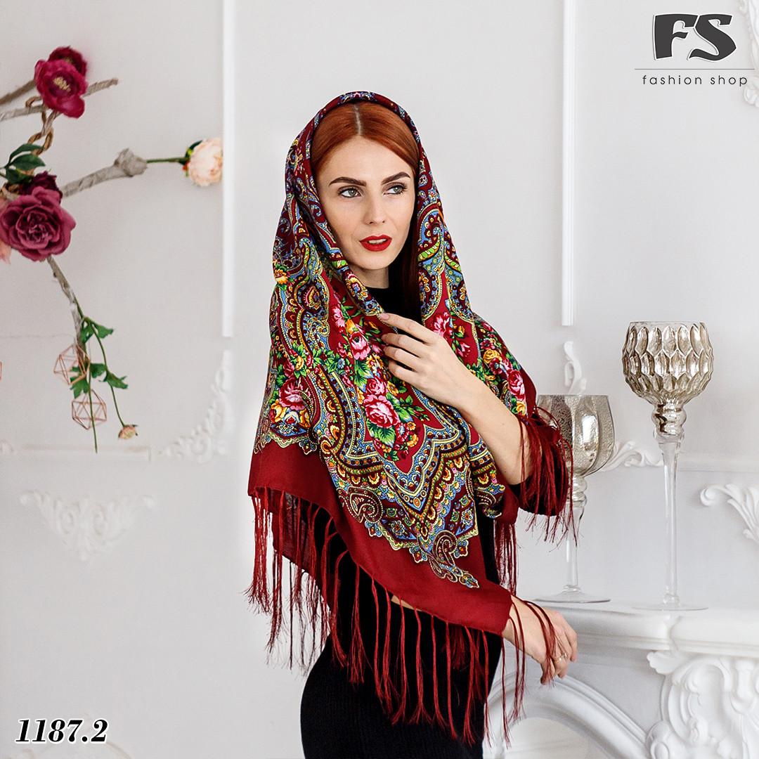 Бордовый павлопосадский шерстяной платок Елизавета