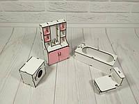 Комплект игровой кукольной мебели Ванная (4 предмета)