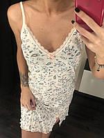 Ночная рубашка, ночная сорочка женская на бретелях, материал вискоза. Размеры: 44, 46, 48, 50.
