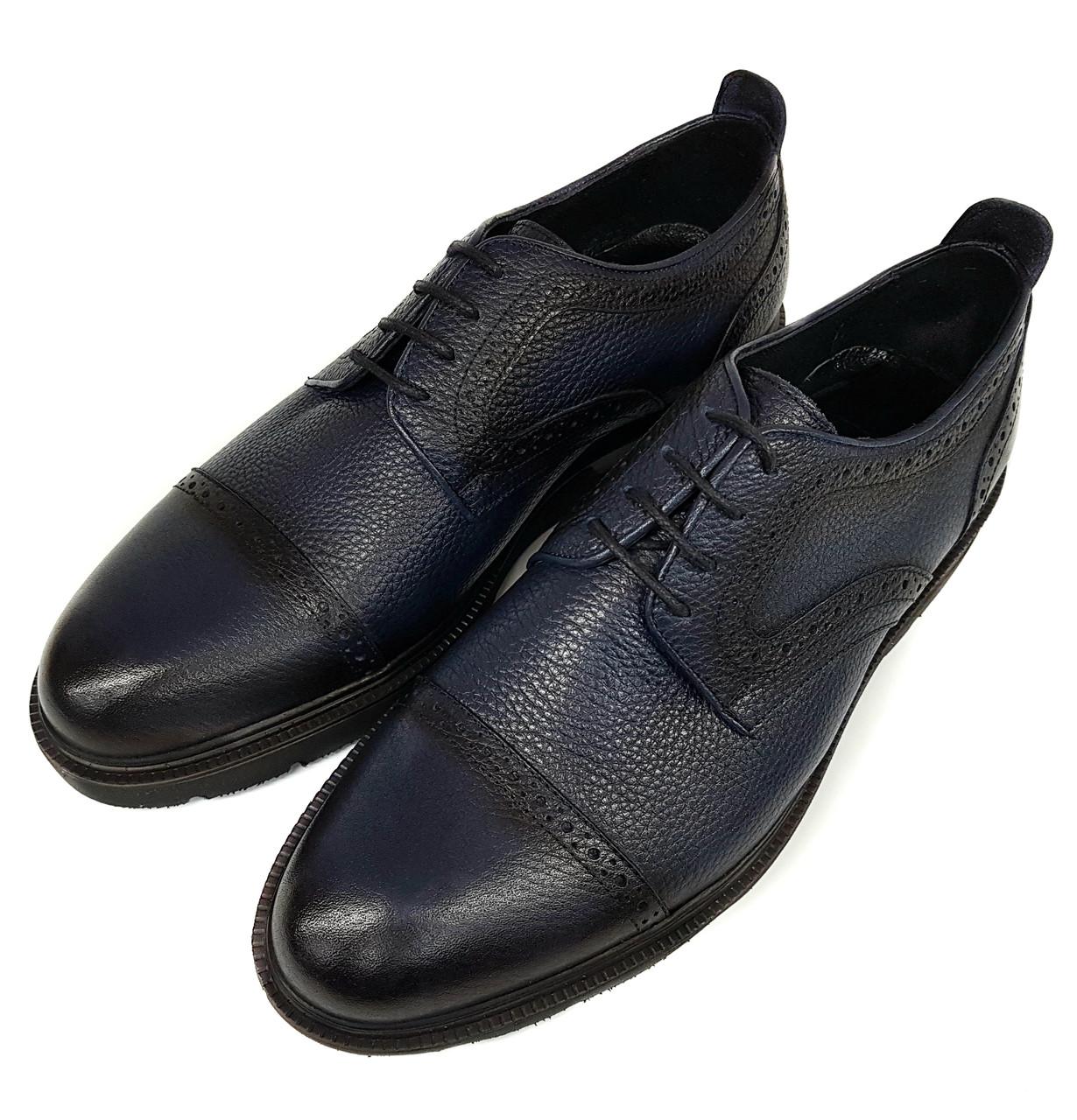 Мужские кожаные туфли без каблука Luciano Bellini синие