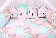 Комплект в детскую кроватку с игрушками и облачками  Единороги, фото 2