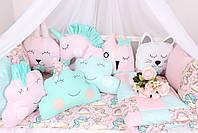 Комплект в дитяче ліжечко з іграшками і хмарками Єдинороги, фото 3