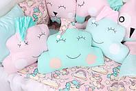 Комплект в дитяче ліжечко з іграшками і хмарками Єдинороги, фото 4