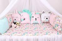 Комплект в детскую кроватку с игрушками и облачками  Единороги, фото 5