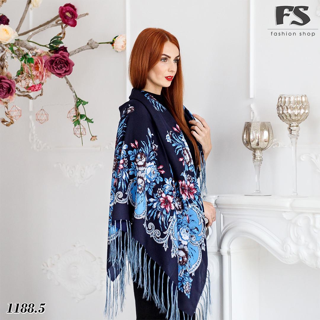Шерстяной павлопосадский шерстяной платок Василиса