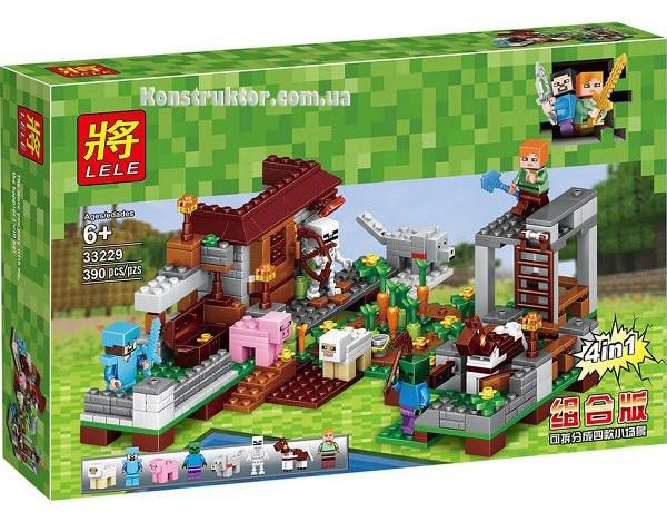 """Конструктор Lele 33229 Minecraft """"Ранчо 4 в 1"""" 390 детали. Аналог Lego Minecraft"""