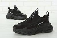 Кроссовки женские мужские Balenciaga Triple S черные (Реплика ААА+), фото 1