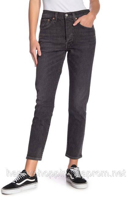 Женские оригинальные серые зауженные джинсы 501 skinny популярного американского бренда Levi's