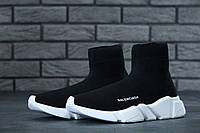 """Кроссовки мужские/женские Balenciaga """"Черные с белой подошвой"""" высокие р.36-45, фото 1"""