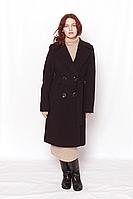 Пальто женское кашемировое классическое баклажан , двубортное  под пояс модель 4315