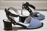 Женские кожаные босоножки на невысоком каблуке Возможен отшив в других цветах кожи и замши, фото 2