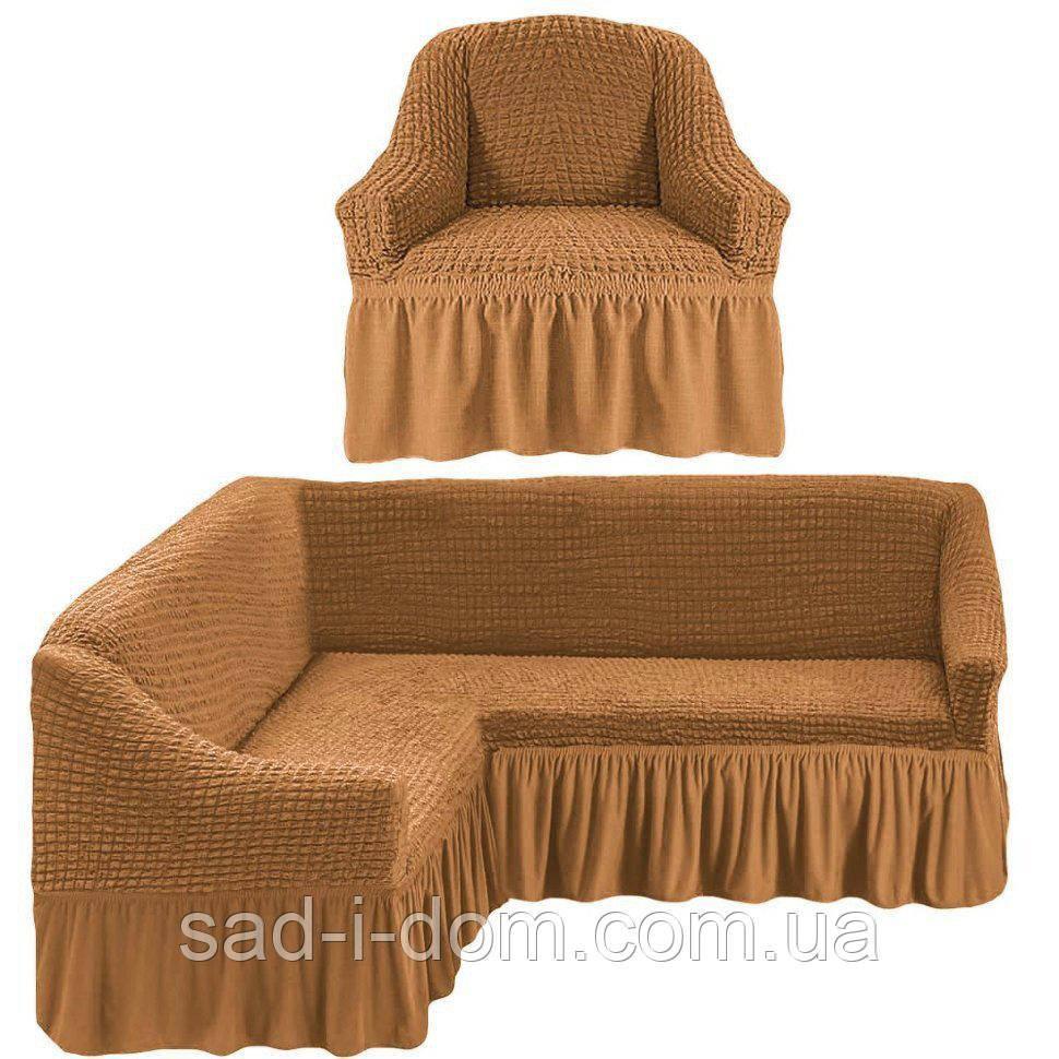 Чехол на угловой диван и кресло, цвет орех
