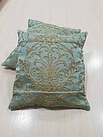 Комплект подушек  бирюза с золотыми коронками , 2 шт 32х32, фото 1