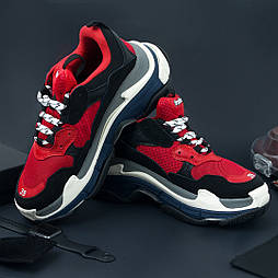 Мужские кроссовки Balenciaga Triple S Black blue red. Живое фото (Реплика ААА+)