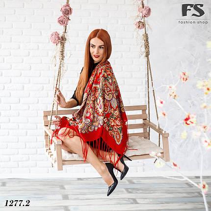 Павлопосадский красный платок  Прекрасное мгновенье, фото 2